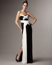 Marchesa | Black Crisscross Contrast Gown | Lyst