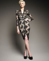 Alexander McQueen | Black Lace Faux-wrap Dress | Lyst