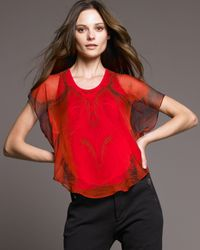 Alexander McQueen | Red Poppy Print Silk Top | Lyst
