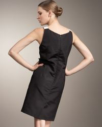 Carolina Herrera | Black Botanical Print Silk Sheath Dress | Lyst