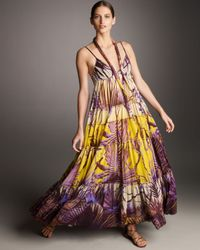 Jean Paul Gaultier | Purple Tiered Palm-print Maxi Dress | Lyst