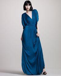 Lanvin | Blue Plisse Kimono Gown | Lyst