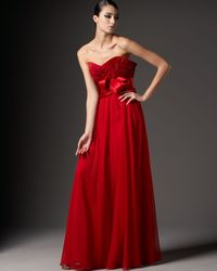Marchesa | Red Silk Pleated-bodice Gown | Lyst