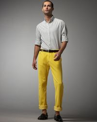 Michael Bastian - Yellow Five-pocket Corduroy Pants for Men - Lyst