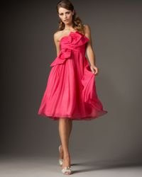 Redux Charles Chang-lima | Pink Strapless Bow-front Silk Dress | Lyst