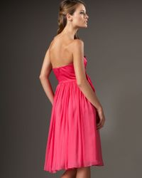 Redux Charles Chang-lima - Pink Strapless Bow-front Silk Dress - Lyst