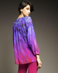 Roberto Cavalli - Purple Ombre Silk Peasant Top - Lyst