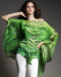 Roberto Cavalli - Green Tropical Plant-print Chiffon Caftan Top - Lyst