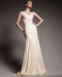 Zac Posen | Natural Pleated Mermaid Gown | Lyst