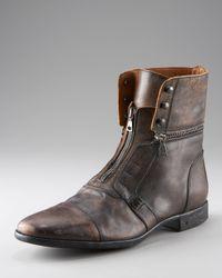 John Varvatos | Black Ago Rub Laceless Zip Boot for Men | Lyst