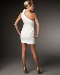 Marchesa   White One-shoulder Pleat Detail Dress   Lyst