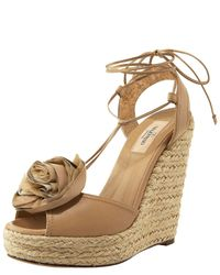 Valentino | Natural Rose-toe Tie-up Espadrille | Lyst