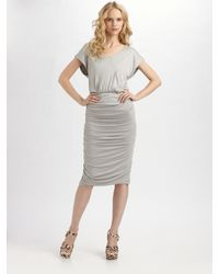 Alice + Olivia | Gray Ruched Dress | Lyst