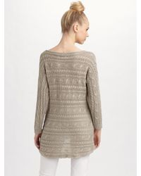 Alice + Olivia - White Linen Cable-knit Sweater - Lyst