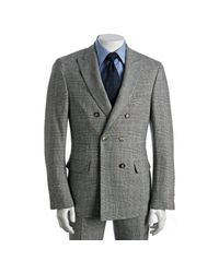 Brunello Cucinelli | Gray Grey Houndstooth Plaid Double Breasted Suit with Flat Front Pants for Men | Lyst