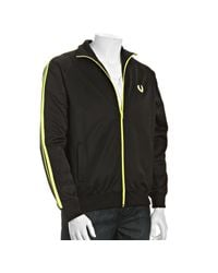 Fred Perry | Black Cotton Striped Sleeve Track Jacket for Men | Lyst