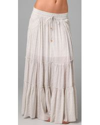 Free People | Gray Tea Floral Tiered Isnt She Peasant Maxi Skirt | Lyst