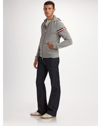 Moncler | Gray Hooded Bold-flag Track Jacket for Men | Lyst