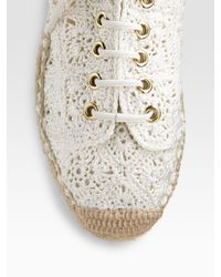 Ralph Lauren Collection - Natural Crocheted Lace-up Espadrilles - Lyst