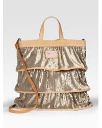 RED Valentino | Metallic Sequined Ruffle Tote | Lyst