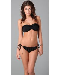 Shoshanna | Black Textured Solid Ruffle Bikini Top | Lyst