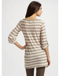 Splendid | Natural Striped Roll-tab Tunic Sleeves | Lyst