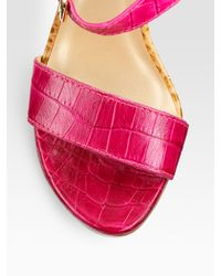 Stuart Weitzman - Pink Strutting Croc-embossed Leather Sandals - Lyst
