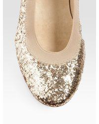 Stuart Weitzman - Metallic Lastikon Glitter Ballet Flats - Lyst