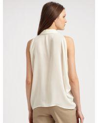 Theory - Blue Sylvian Silk Pleated Skirt - Lyst