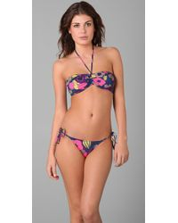 Tibi | Blue Kamara Shirred Bandeau Bikini Top | Lyst