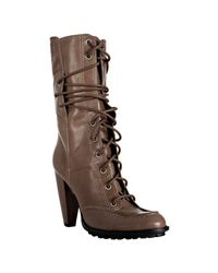 7 For All Mankind | Brown Taupe Leather Everly Lace-up Boots | Lyst