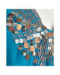 Aryn K. - Blue Turquoise Silk Sequin Detail Halter Tank - Lyst