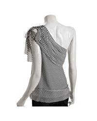 BCBGMAXAZRIA - Gray Black Striped Silk Tiered One-shoulder Blouse - Lyst