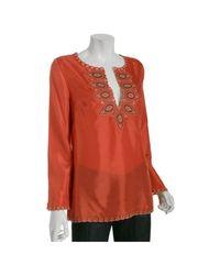 BCBGMAXAZRIA | Coral Embroidered Habotai Tunic Top | Lyst