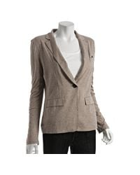 BCBGMAXAZRIA | Gray Heather Khaki Jersey One-button Blazer | Lyst