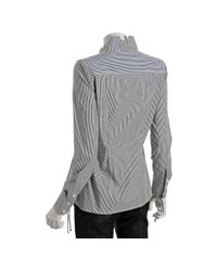 BCBGMAXAZRIA | Gray White and Black Stripe Ruched Side Button Front Shirt | Lyst