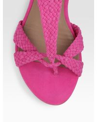 Belle By Sigerson Morrison - Pink Suede Flat Sandals - Lyst