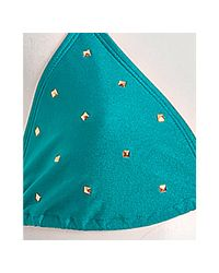 Brette Sandler Swimwear | Blue Teal Skyler Pyramid Studded Triangle Bikini | Lyst