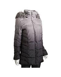 Calvin Klein - Gray Grey Ombré Faux Fur Trim Hooded Down Coat - Lyst