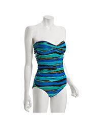 Carmen Marc Valvo - Blue Oasis Multi-stripe Zanzibar Bandeau One Piece Swimsuit - Lyst