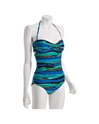 Carmen Marc Valvo | Blue Oasis Multi-stripe Zanzibar Bandeau One Piece Swimsuit | Lyst