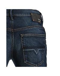 DIESEL | Blue Dark Wash Stretch Joyze Crop Banded Jeans | Lyst