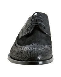 Dolce & Gabbana - Black Crosshatched Leather and Suede Wingtip Oxfords for Men - Lyst