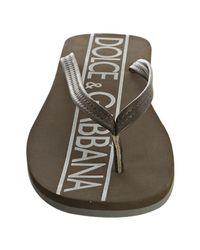 Dolce & Gabbana - Green Dark Olive Leather Logo Thong Sandals for Men - Lyst