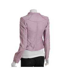 Doma Leather | Purple Lilac Leather Diagonal Zip Jacket | Lyst