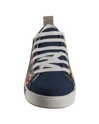 DSquared² - Blue Canvas Patch Detail Lace Up Sneakers for Men - Lyst