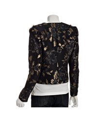 Elie Tahari | Black Metallic Jacquard Odessa Jacket | Lyst