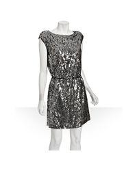 Elie Tahari | Metallic Silver Sequin Mesh Overlay Bally Drop Waist Dress | Lyst