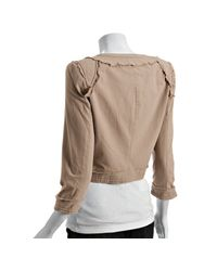 Elizabeth and James | Natural Beige Cotton Frayed Cropped Band Jacket | Lyst