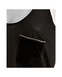 Erin Kleinberg - Black Jersey Velvet Pocket Boyfriend Tank - Lyst
